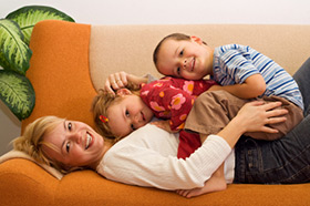 Mom and kids on the couch